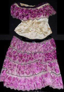 Large Embroidered Gauze Skirt - Guadalajara, Mexico - about 1950 - used by California dance troupe - silk