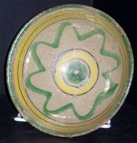 majolica style bowl - possible cofradia use - 7in, diameter - 1940's or 50's - some wear on edge - $75